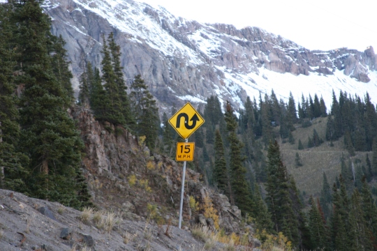 Vehicles including truckers must manuver lots of these 15 mph hairpin turns on the Million Dollar Highway!