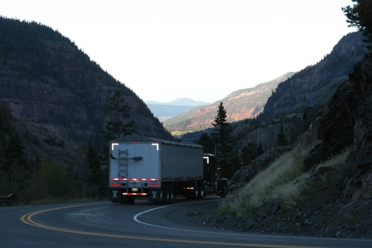 This truck driver should get a medal for bravery. Even if he traverses this tricky Million Dollar Highway section regularly, he probably doesn't have much of a chance to look at the view.