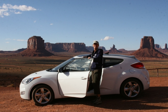 The Hyundai Veloster (or Valoster as we call it) did fine on the 17-mile dirt road (if you can call it that) winding through Monument Valley.