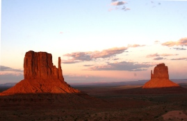 Sunset on East and West Mittens, Monument Valley, Arizona. Oct. 2014