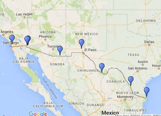 SW US _Mexico Route Map
